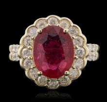14KT Yellow Gold 3.44ct Ruby and Diamond Ring