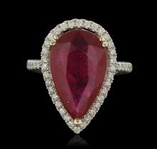 14KT White Gold 7.24ct Ruby and Diamond Ring