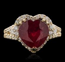 14KT Yellow Gold 5.41ct Ruby and Diamond Ring