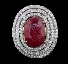 14KT Two-Tone Gold 10.27ct Ruby and Diamond Ring