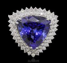 14KT White Gold GIA Certified 18.78ct Tanzanite and Diamond Ring
