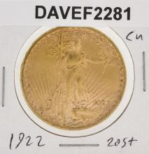 1922 $20 CU St. Gaudens Double Eagle Coin