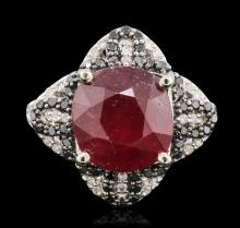14KT White Gold 6.87ct Ruby and Diamond Ring