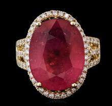 14KT Yellow Gold 11.84ct Ruby and Diamond Ring