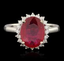 14KT White Gold 3.31ct Ruby and Diamond Ring