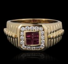 14KT Yellow Gold 0.40ctw Ruby and Diamond Ring
