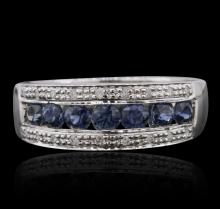 14KT White Gold 0.92ctw Sapphire and Diamond Ring
