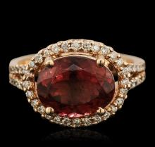 14KT Rose Gold 4.10ct Rubellite and Diamond Ring
