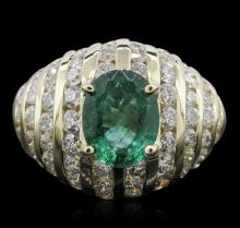 14KT Yellow Gold 2.03ct Emerald and Diamond Ring