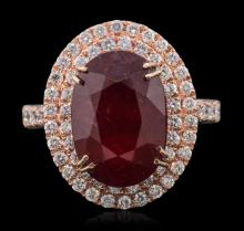 14KT Rose Gold 7.59ct Ruby and Diamond Ring