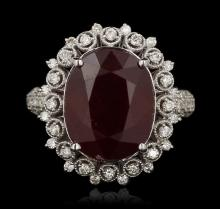 14KT White Gold 10.13ct Ruby and Diamond Ring