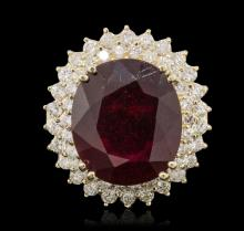 14KT Yellow Gold 17.96ct Ruby and Diamond Ring