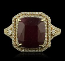 14KT Yellow Gold 7.74ct Ruby and Diamond Ring