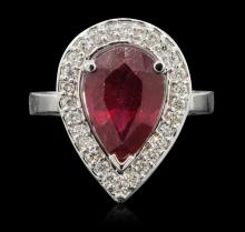14KT White Gold 4.86ct Ruby and Diamond Ring