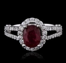 14KT White Gold 1.39ct Ruby and Diamond Ring
