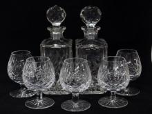 2 Wedgwood Crystal Decanters, 5 Brandy Snifters