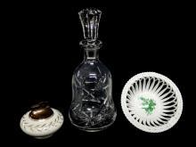 3pc. Herend Bowl, Decanter, Lefton Table Lighter