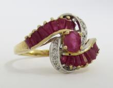 14K Ruby Diamond By-Pass Ring