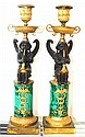 Pair of French Bronze & Malachite Candlesticks