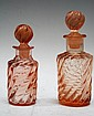 2 French Pink Glass Swirl Perfume Bottles