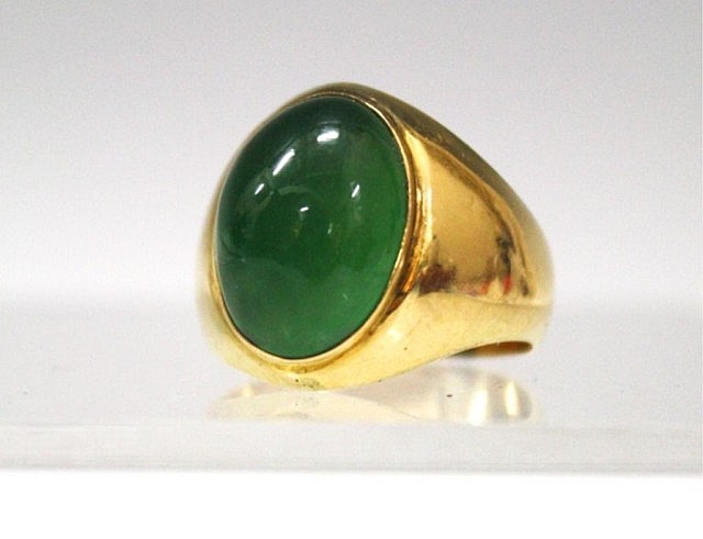 Oval Shaped 14K Gold & Jadeite Ring