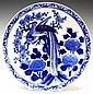 Chinese Blue & White Porcelain Plate Bird & Flower