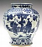 Chinese Blue & White Porcelain Vase w/ Figures