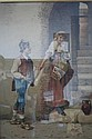Italian Filippo Indoni Watercolor Peasant Couple