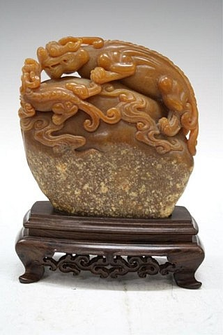 Chinese Carved Shoushan Stone Dragon
