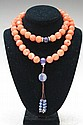 Chinese Carved Coral Beaded Necklace w/ Lapis
