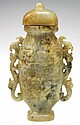 Chinese Jade Lidded Vessel with Two Handles