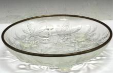Verlys French Crystal Art Glass Bowl, Rare