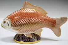 Royal Crown Derby Fish Form Porcelain Paperweight