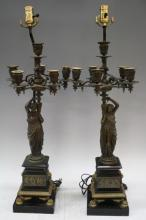 Pair of French Victorian Bronze Candelabra Lamps