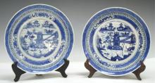 Pair of Blue & White Chinese Porcelain Plates