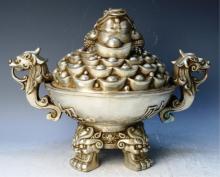 Chinese Large Silvered Bronze Incense Burner