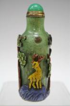Chinese Green Peking Glass Snuff Bottle w/ Deer