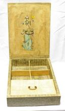 Korean Antique Box w/Butterfly and Flower Painting
