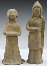 Pair of Early Chinese Clay Figures
