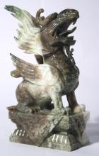 Jade Pixiu Dragon Figure on Pedestal
