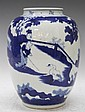 Chinese Blue & White Porcelain Jar w/ Figures