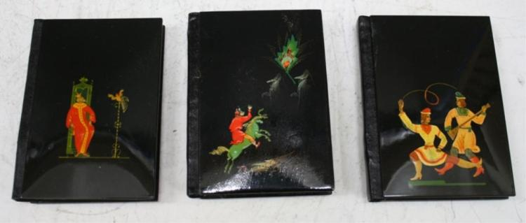 Lot of Three Russian Lacquered Address Books