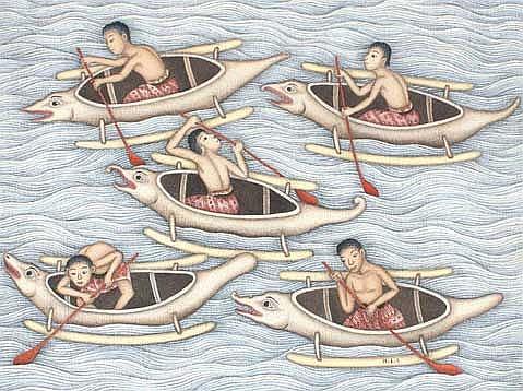 Mokoh, I Dewa Putu (b. Ubud Bali, 1934) Canoeing