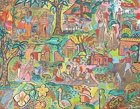 Putu AR Kampung Bali 1987 acrylic on canvas 50 x