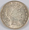 1910 BARBER HALF DOLLAR AU-58+ (LOTS OF LUSTER)