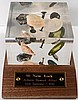 SSNY SHIPWECK COINS AND ARTIFACTS IN SOLID LUCITE DISPLAY,  WITH COA AND STAND