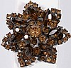 Vintage Rhinestone Brooch, Rhinestones are topaz colored, metal is japanned