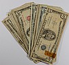 LOW GRADE  CURRENCY LOT: 7 $5.00 SILVER CERTS AND 23 $5.00 RED SEAL