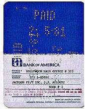 JACKSON FIVE OWNED BANK BOOK.