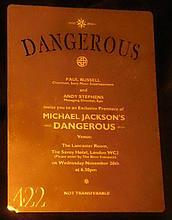 MICHAEL JACKSON: DANGEROUS GOLD PLATED INVITATION PLAQUE.
